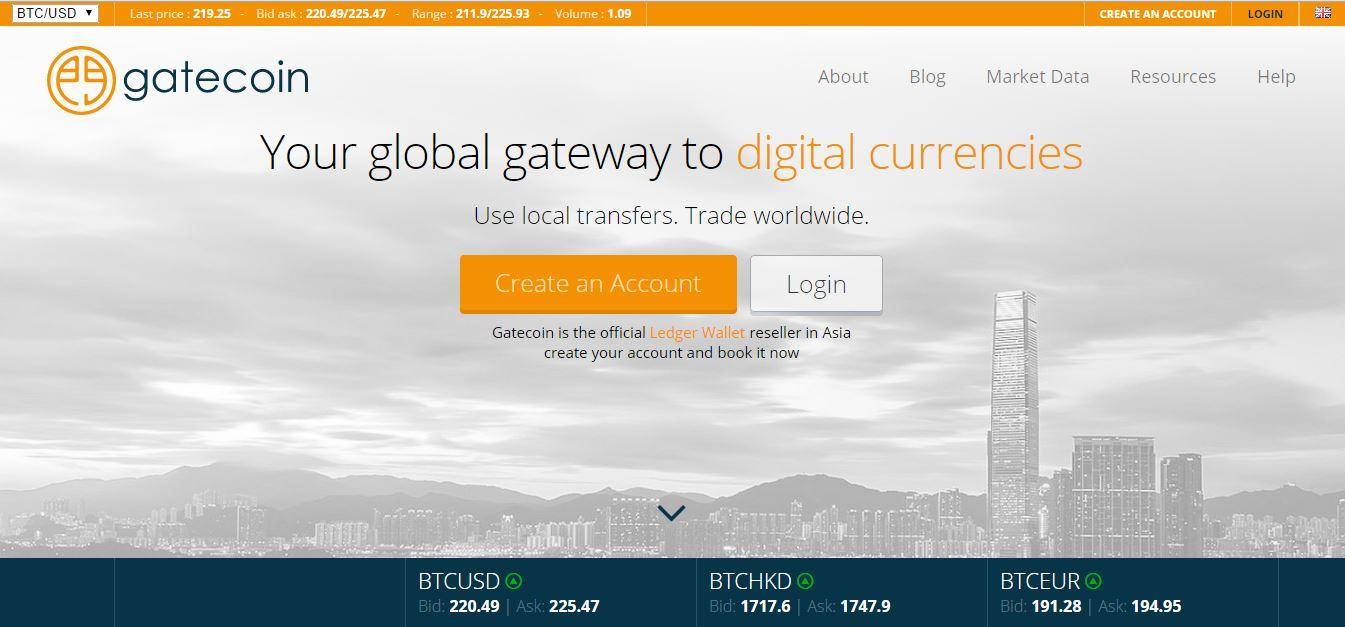 Gatecoin Ltd. screenshot