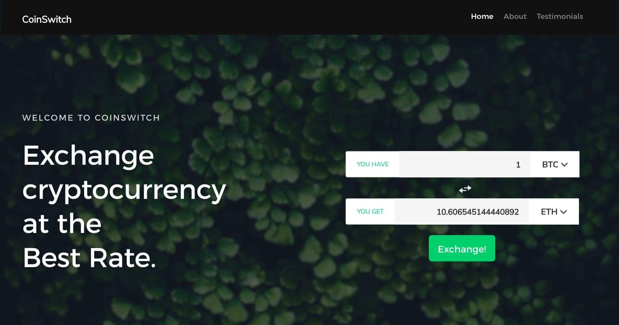 CoinSwitch screenshot
