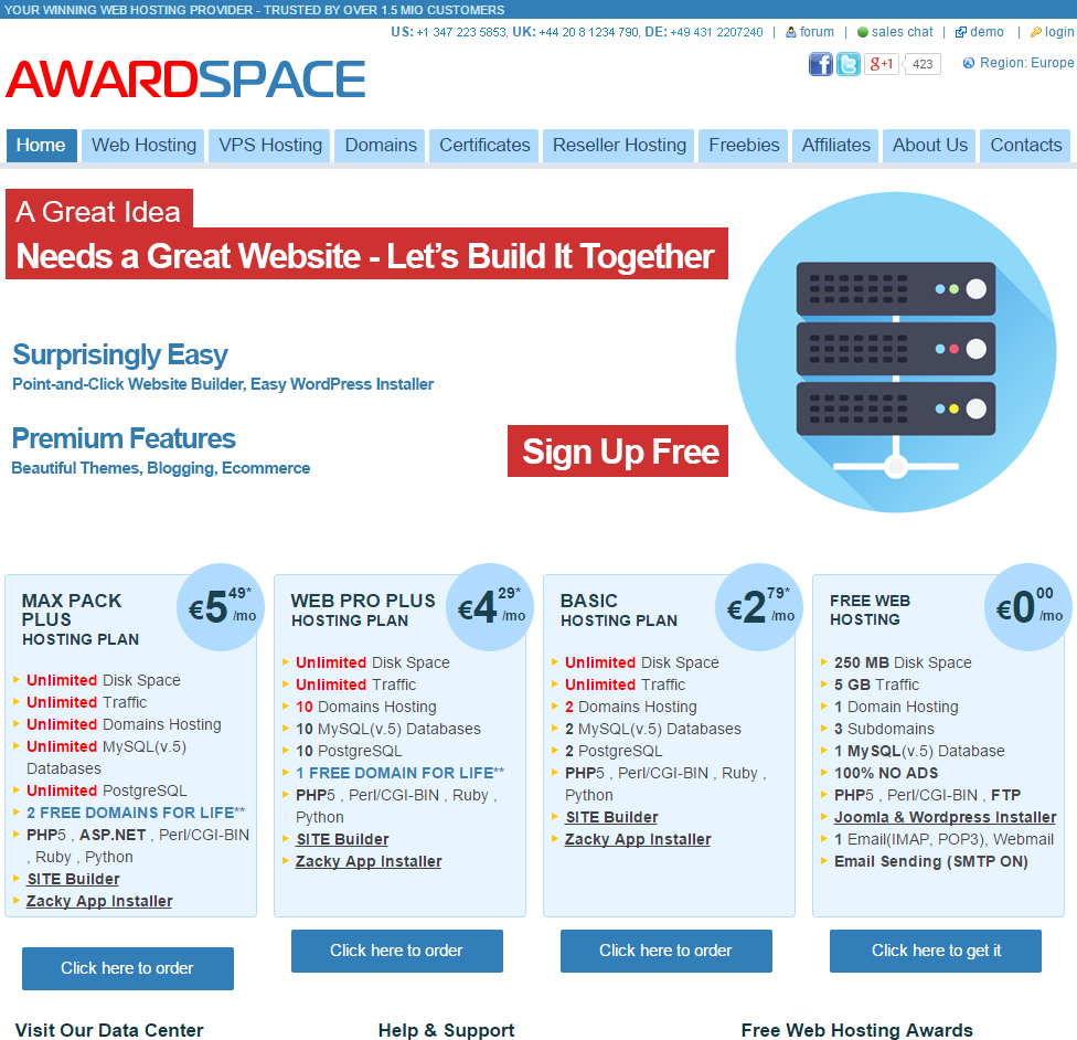 AwardSpace - Web Hosting screenshot