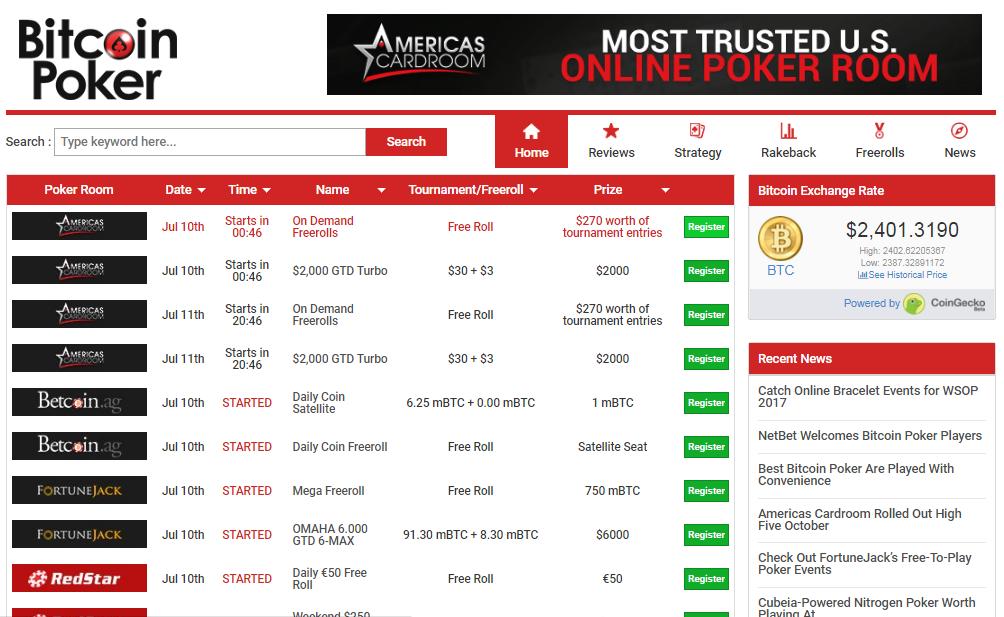 Best Bitcoin Poker Room screenshot