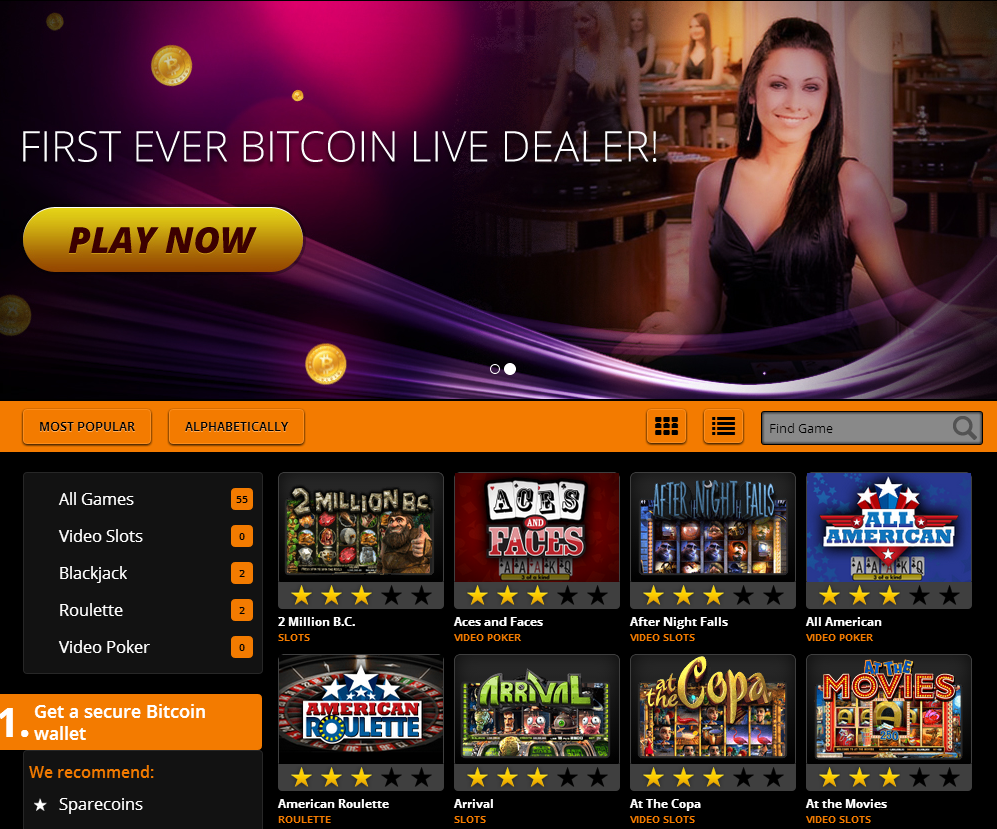 Bitcasino.io screenshot