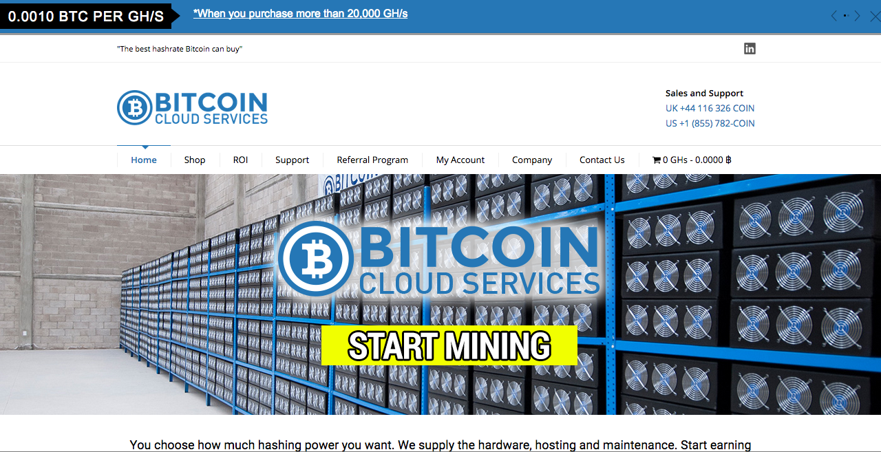 Bitcoin Cloud Services screenshot
