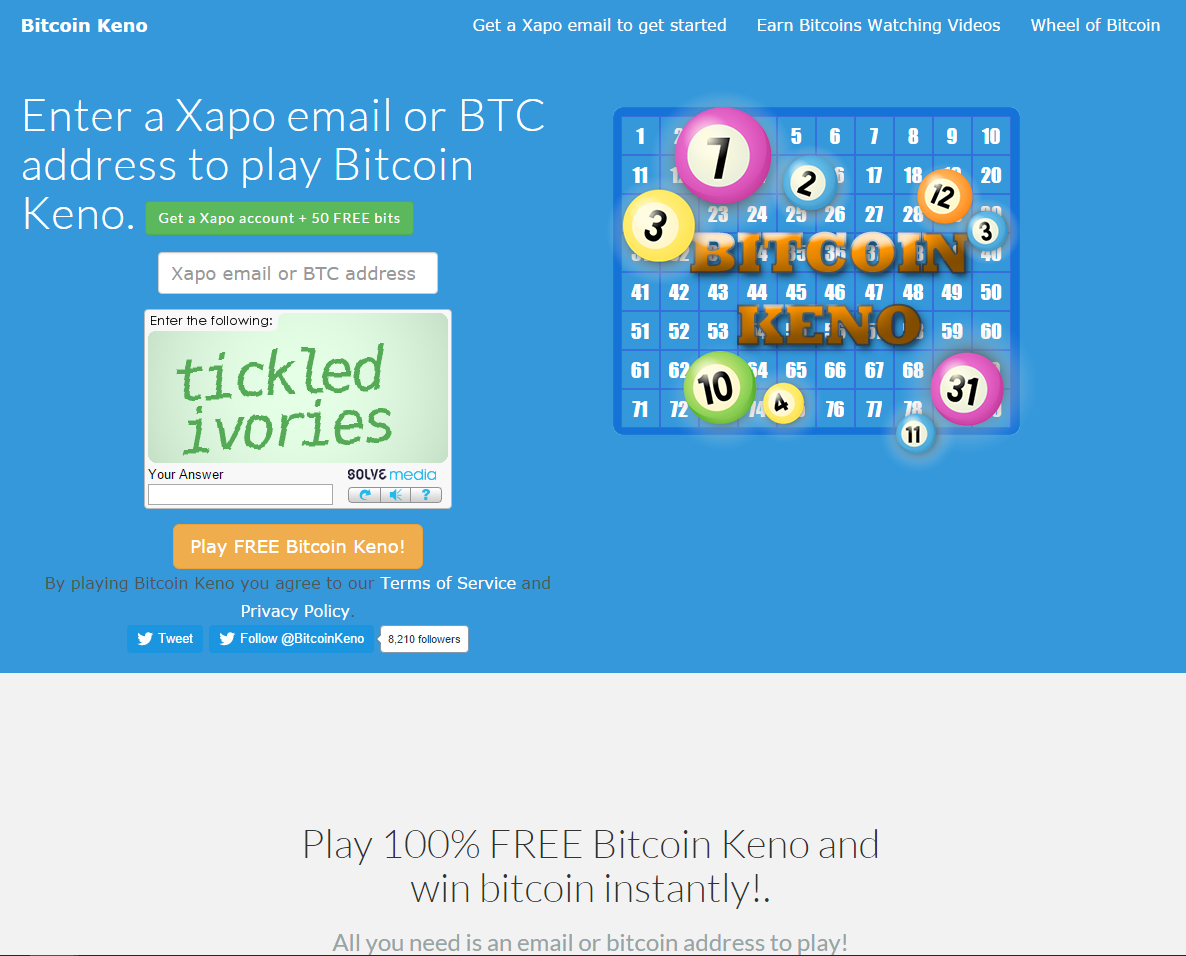 Bitcoin Keno screenshot