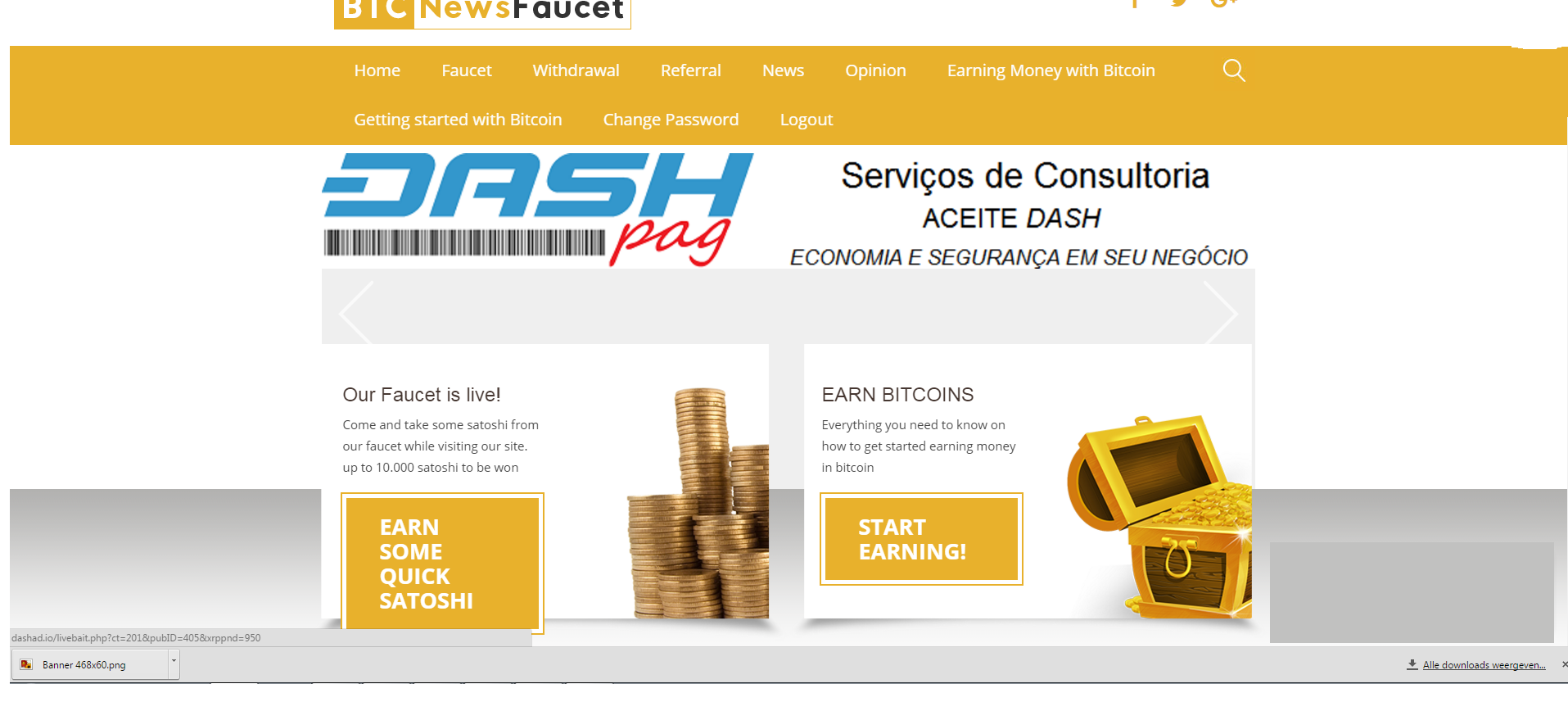 bitcoin news faucet screenshot