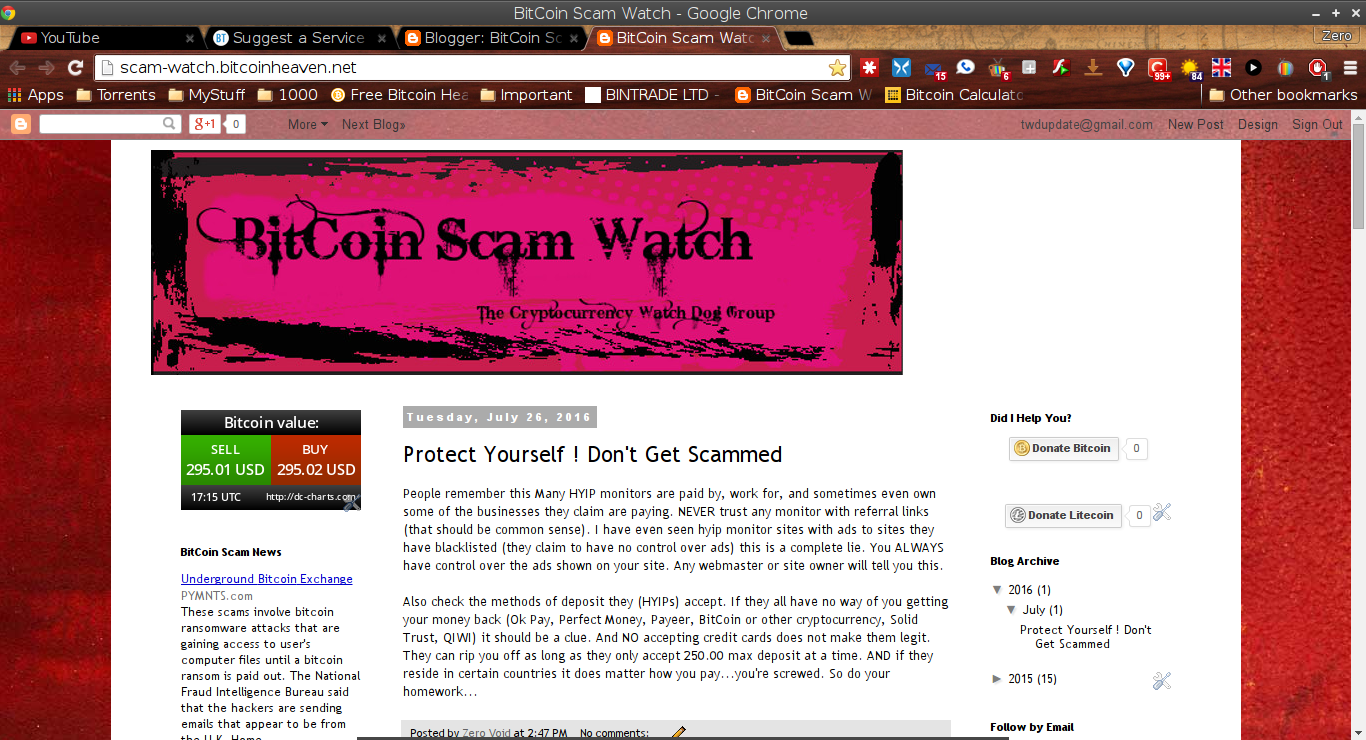 BitCoin Scam Watch screenshot