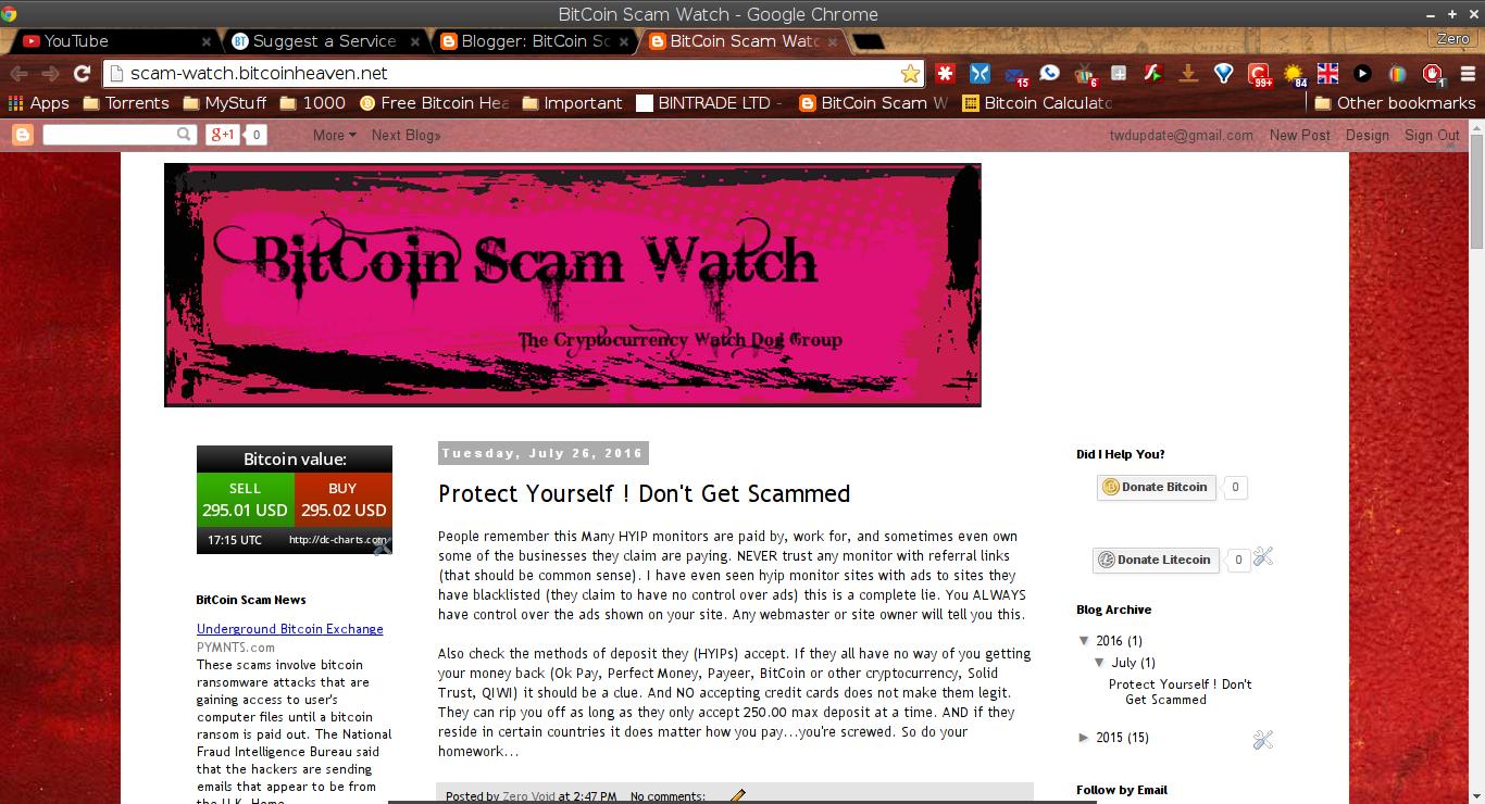 BitCoin Scam Watch screenshot