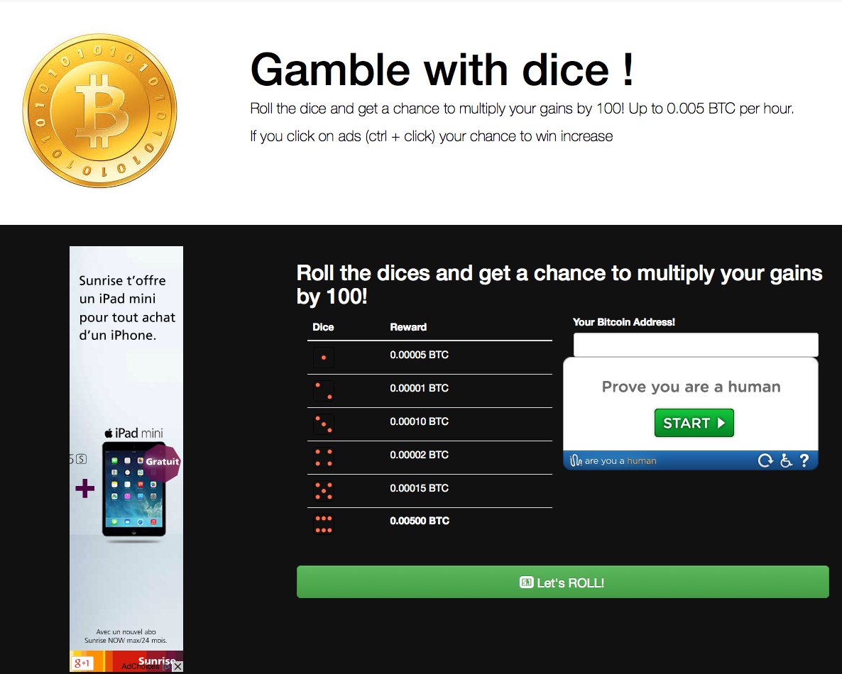 Bitcoins-Gambling screenshot
