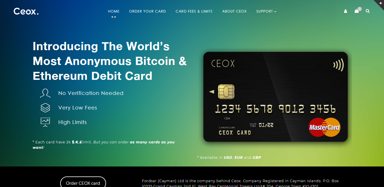 CEOX Card screenshot