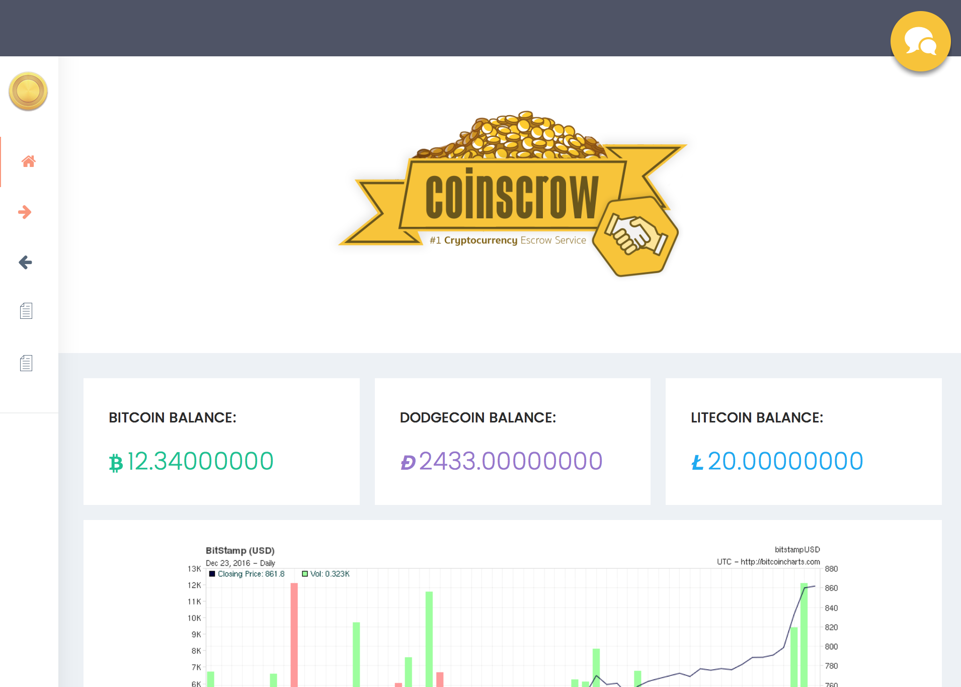 Coinscrow screenshot