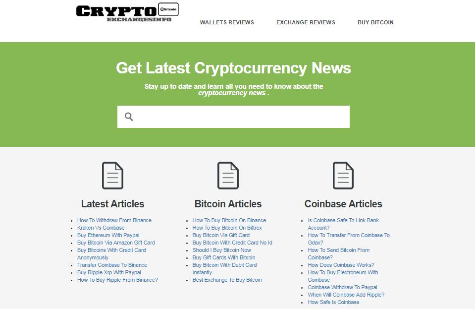 Crypto exchanges info screenshot