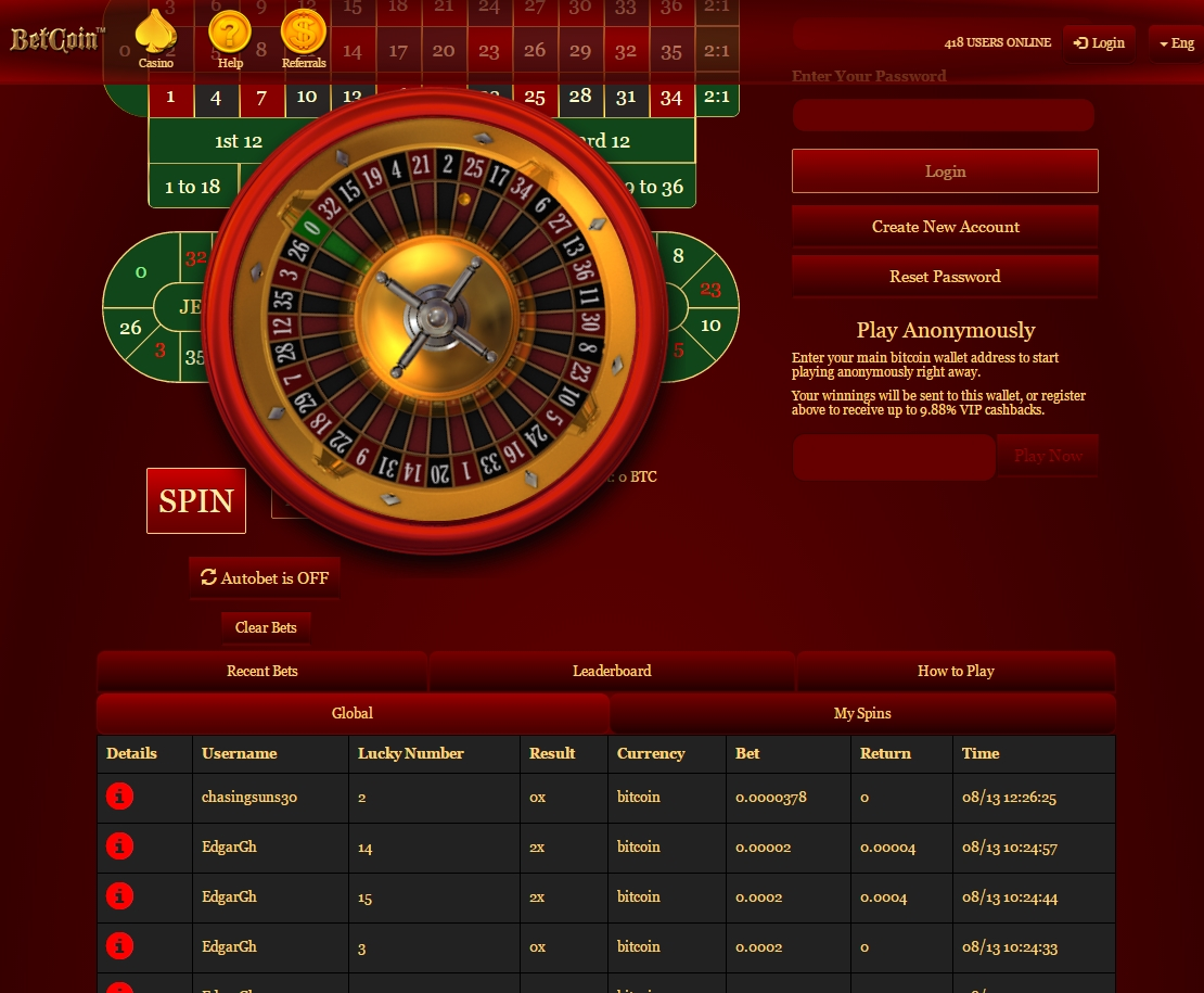 Free bitcoin casino screenshot