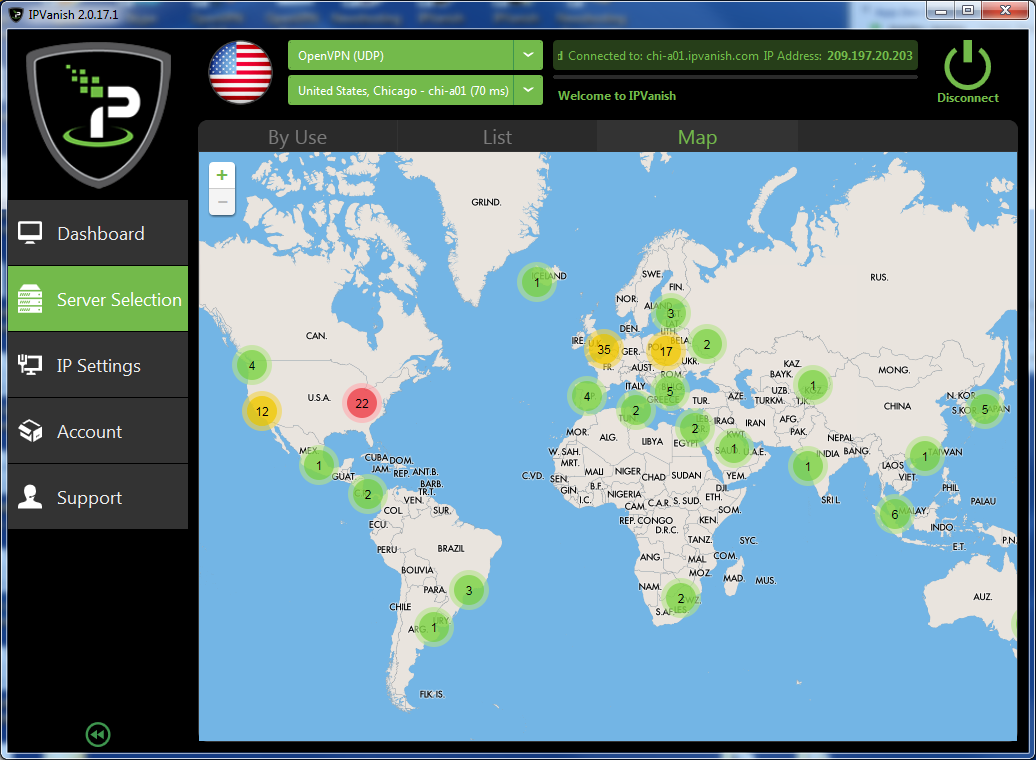IPVanish VPN screenshot