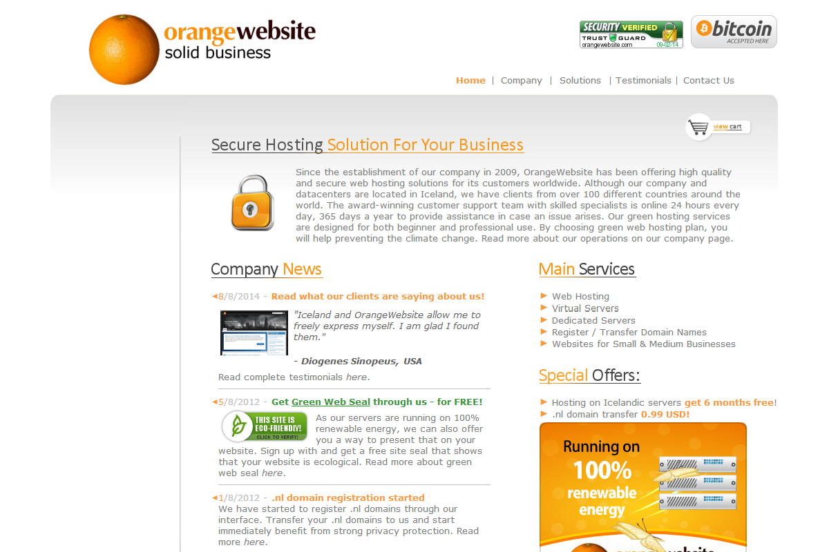 OrangeWebsite.com - Bitcoin Web Hosting screenshot