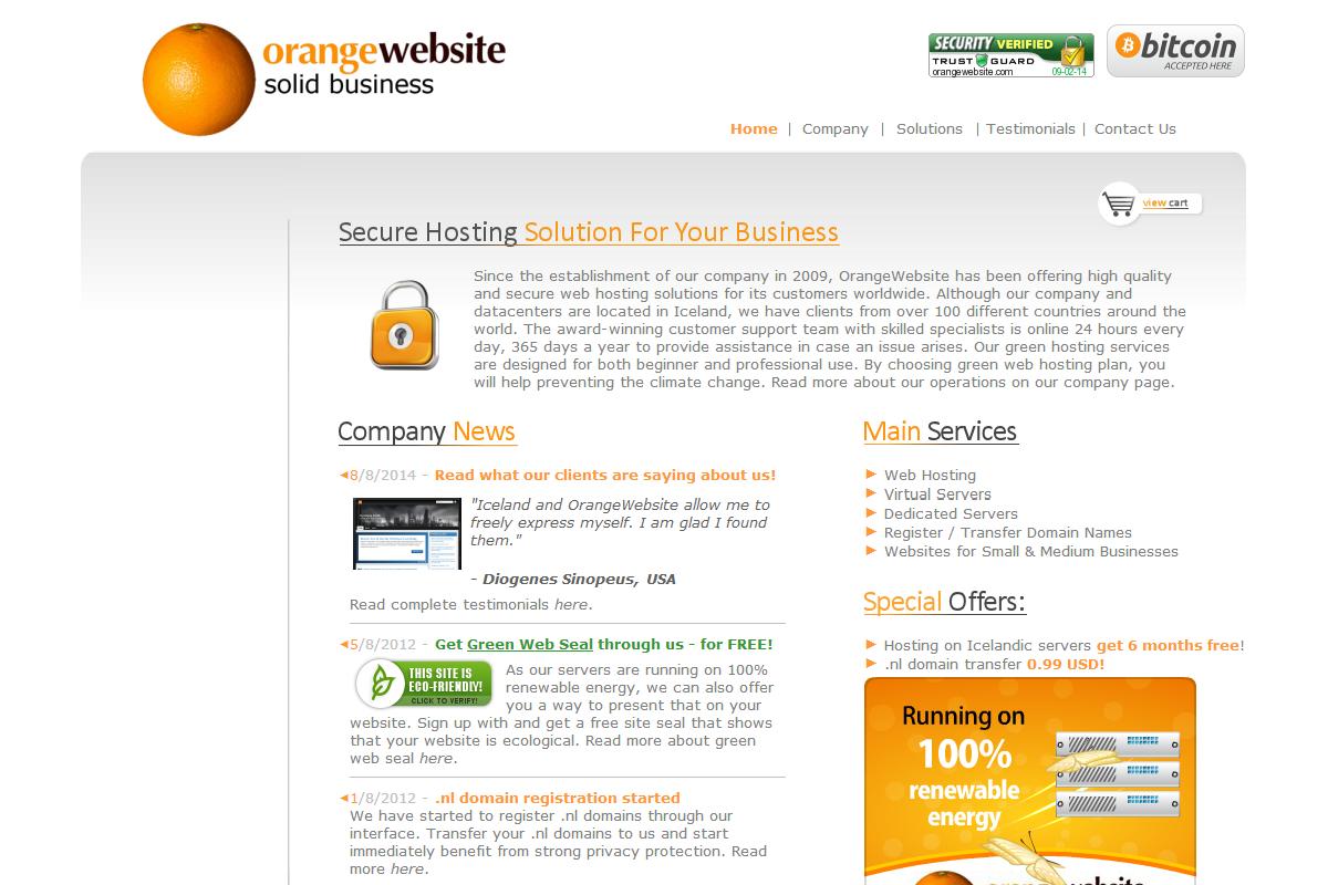 OrangeWebsite.com - Bitcoin Web Hosting screenshot