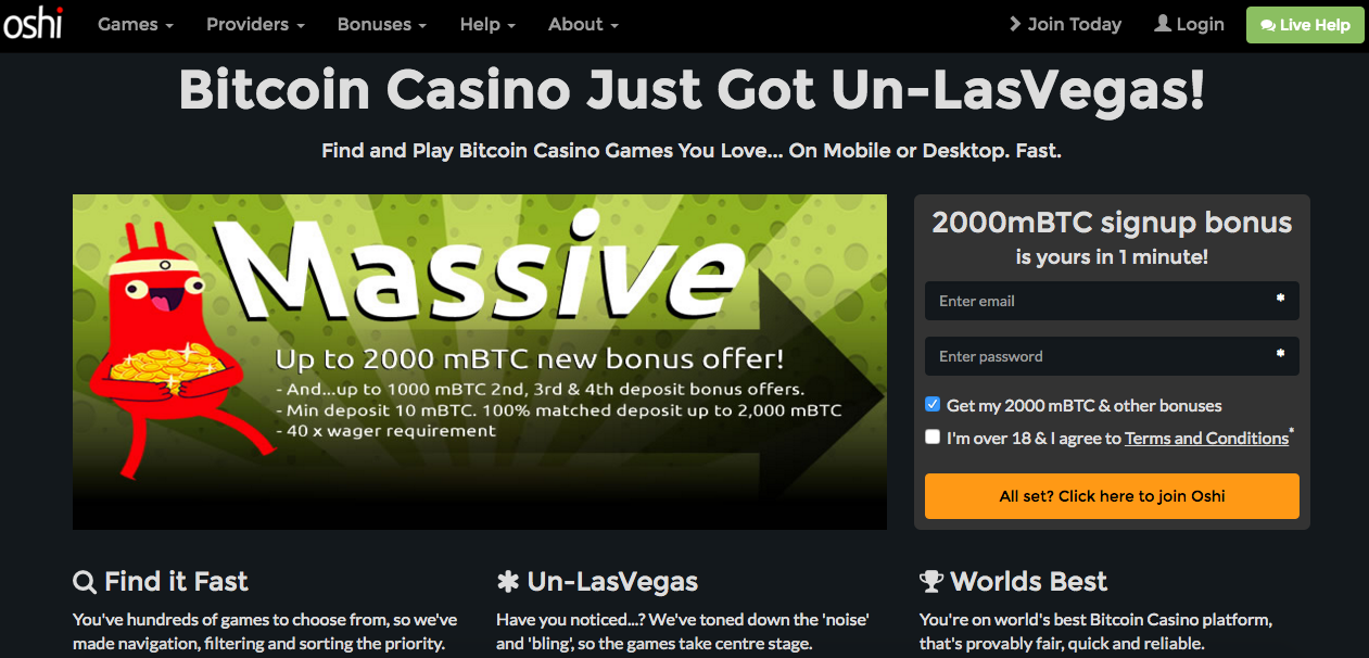 Oshi Bitcoin Casino screenshot