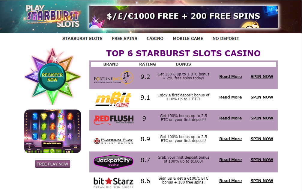 Play Starburst Slots screenshot