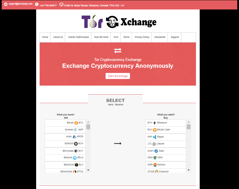 Tor Cryptocurrency Exchange screenshot