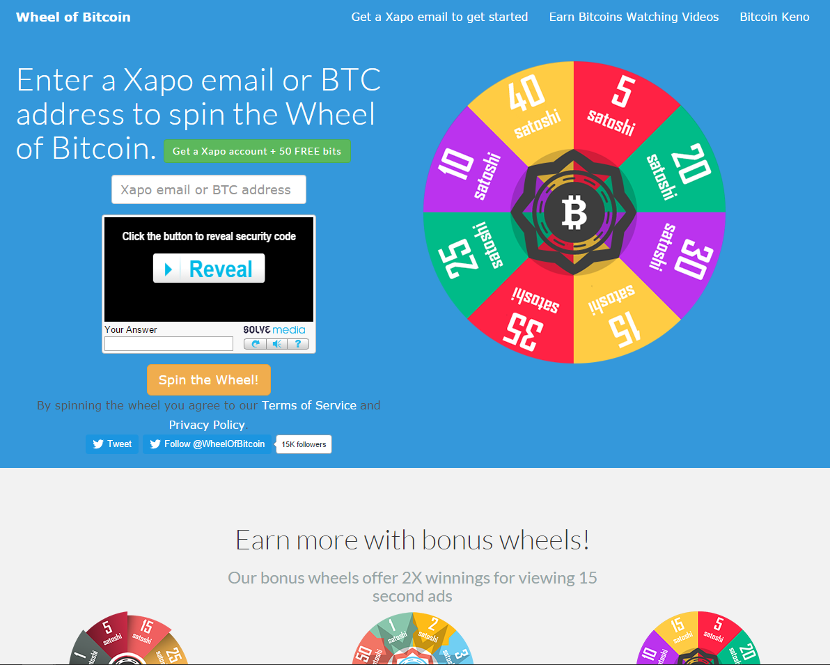 Wheel of Bitcoin screenshot