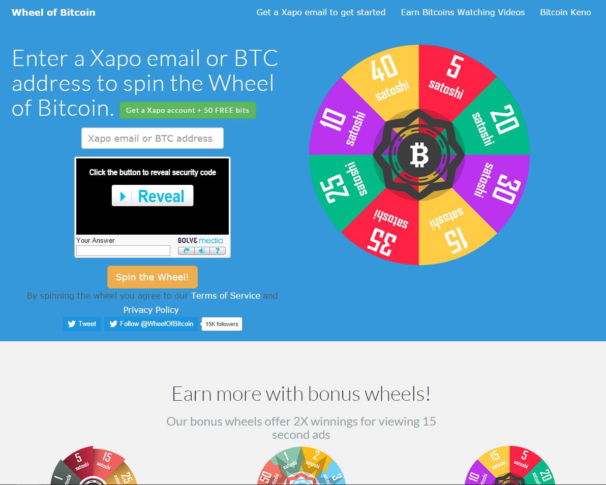 Wheel Of Bitcoin Screenshot