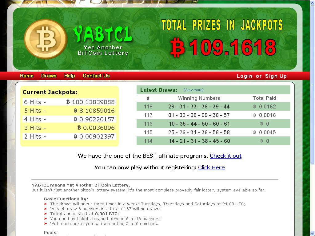 YABTCL.com - Bitcoin Lottery screenshot